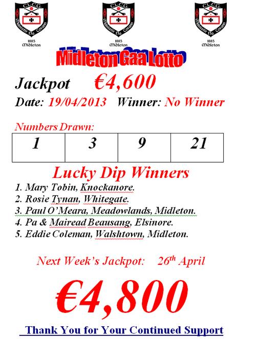 Midleton GAA Club - Lotto Results 19th April 2013
